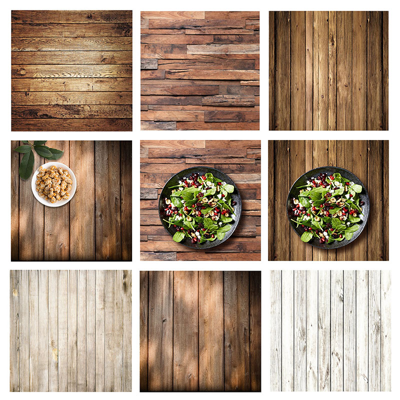 ALLOYSEED 60x60cm Retro Wood Board Texture Photography Background Backdrop For Photo Studio Video Photographic Backgrounds Props