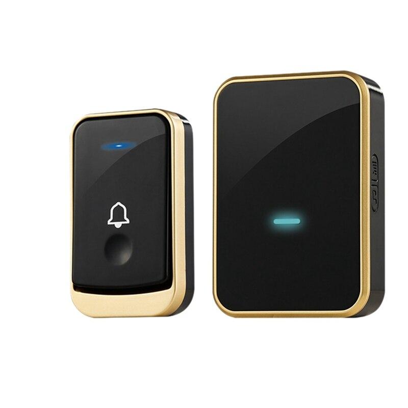 Waterproof Doorbell Intelligent Wireless Doorbell 300M Remote Smart Doorbell 45 Chimes(Us Plug)