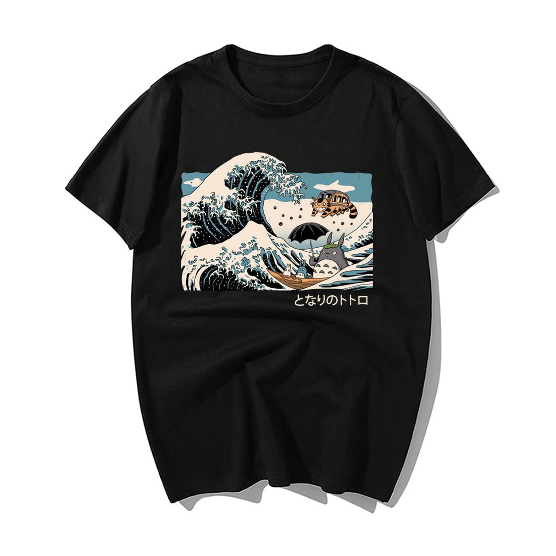 Classic Vintage Japanese Anime Tonari No Totoro Print T Shirt Funny Men Summer Casual Cotton Short Sleeve Tshirts Male Tops Tees