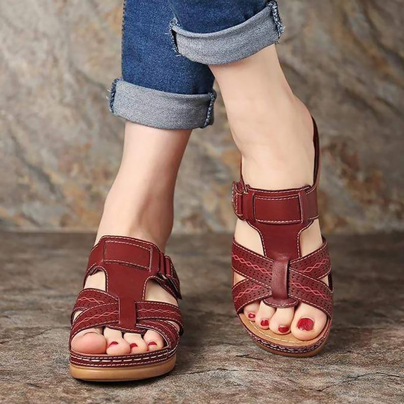 Women's summer Sandals Roman women's Open Toe Shoes Wedge sandals Comfortable Fish Mouth Beach Sandals Classic