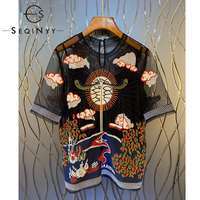 SEQINYY Vintage Embroidery T Shirt 2020 Summer Spring New Fashion Design Short Sleeve Mesh Translucent Flowers High Quality Top