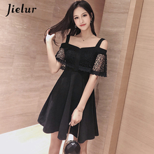 Jielur 2019 Black Dress Women High Street Slash Neck Hollow Off Shoulder Vestidos Mujer S-XL Casual Hipster Red Dresses Ladies