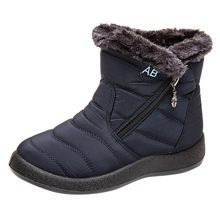 Women's Plush Insole Snow Boots Winter Ankle Short Bootie Waterproof Footwear Keep Warm Shoes Woman Flat Heel Round Head Boots(China)