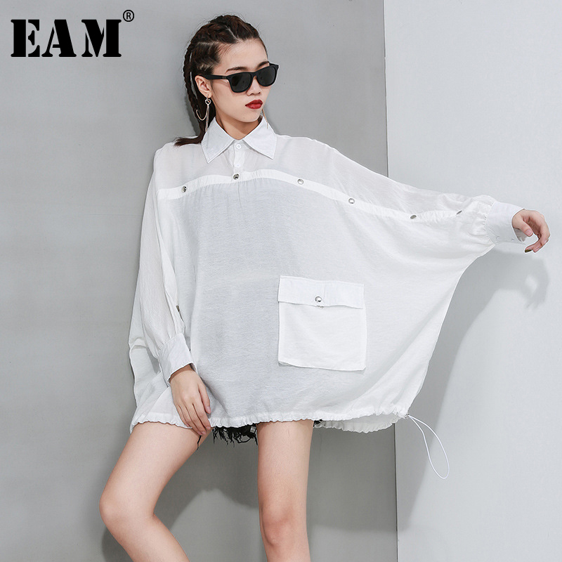 [EAM] Women White Brief Button Split Big Size Blouse New Lapel Long Sleeve Loose Fit Shirt Fashion Tide Spring Autumn 2020 1R617