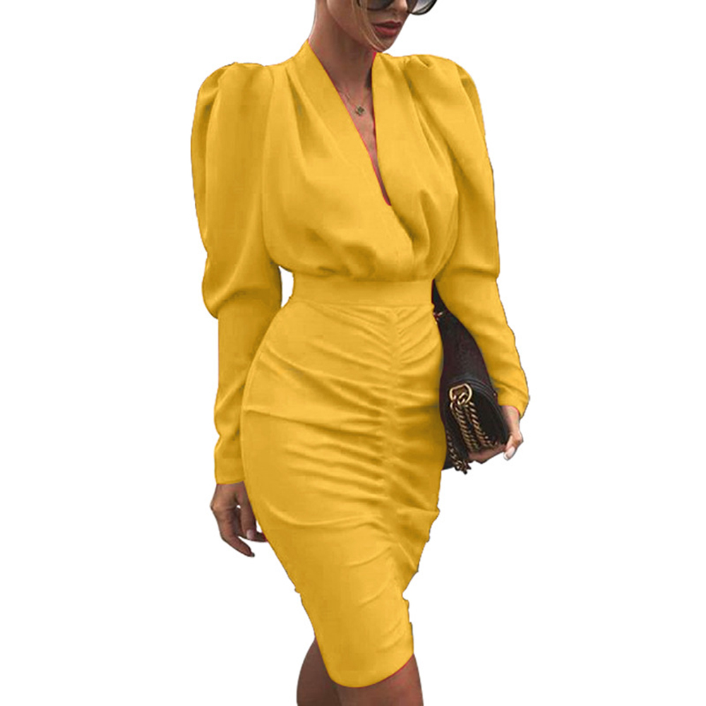WENYUJH 2020 Autumn Women Slim Party Dress Office Lady Long Sleeve V-Neck Pencil Dress Office Ladies Sexy Dress Female