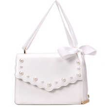 MONNET CAUTHY New Bag for Women Sweet Fashion Ribbons Office Lady Crossbody Solid Color White Black Pink Elegant Girls Flap