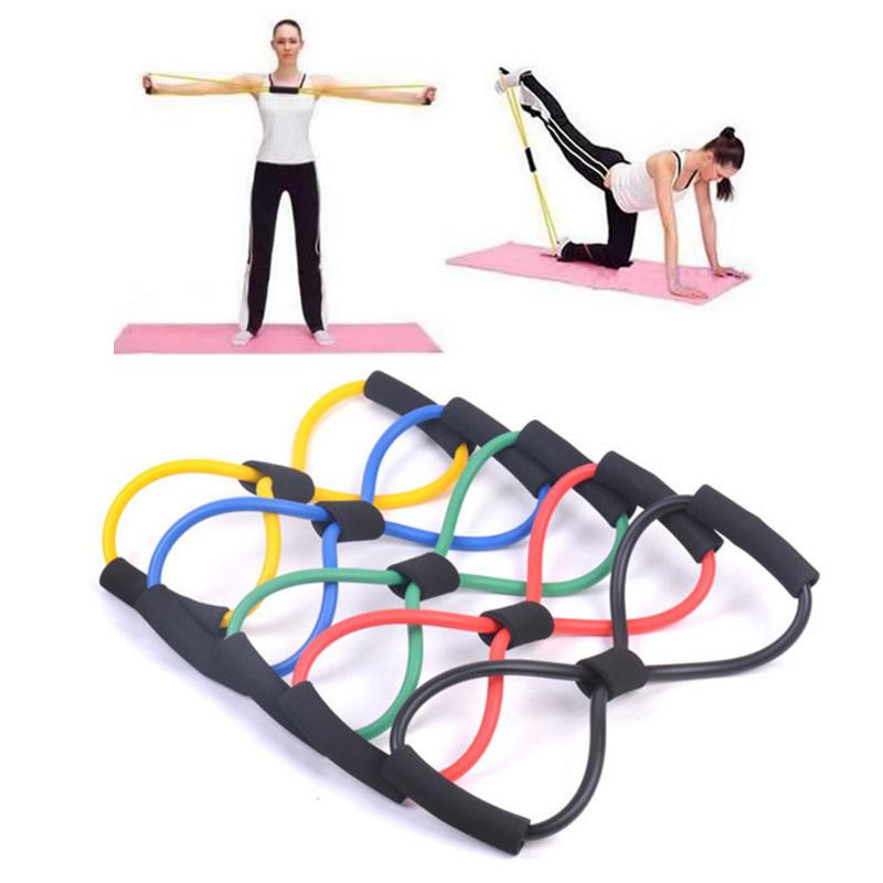 Hot 8 Word Type Resistance Training Bands Rope Tube Chest Expander Rope Workout Muscle Fitness Elastic Band