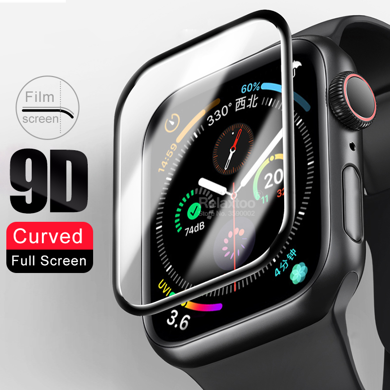 9D Full Curved For iwatch 1 2 3 4 5 series protective Glass on the For apple i watch 38mm 40mm 42mm 44m screen protector Film