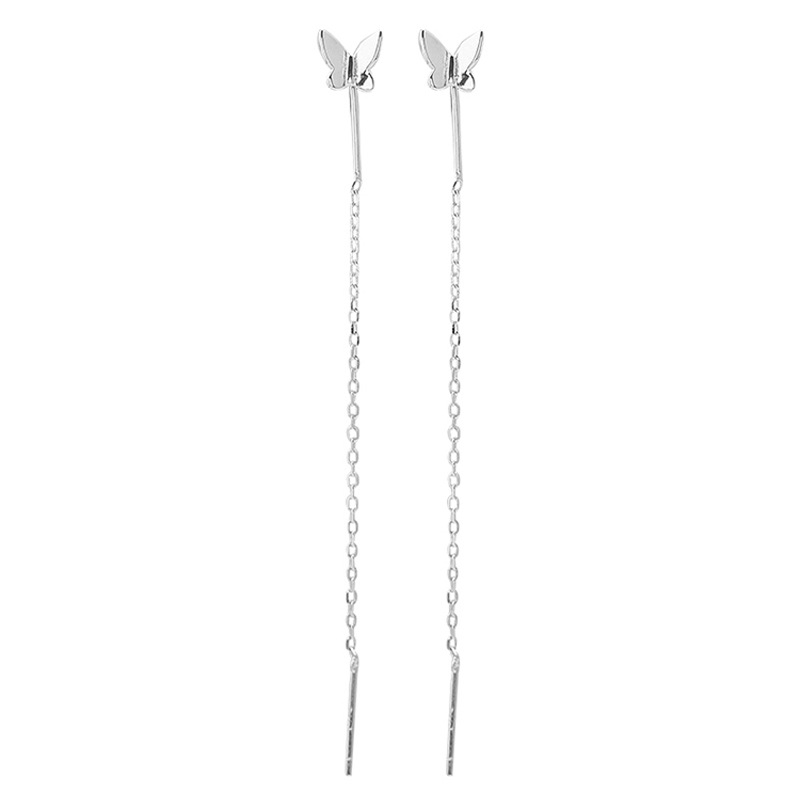 Long Tassel Butterfly Drop Earrings Silver Color 2020 Fashion Hanging Women Earrings Summer Jewelry Girls GIfts