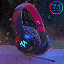 Gaming & Music Modes 7.1 Surround Bluetooth Headphone Wireless & Wired Stereo Pubg Mobile PC Games Headphones with RGB Light Mic