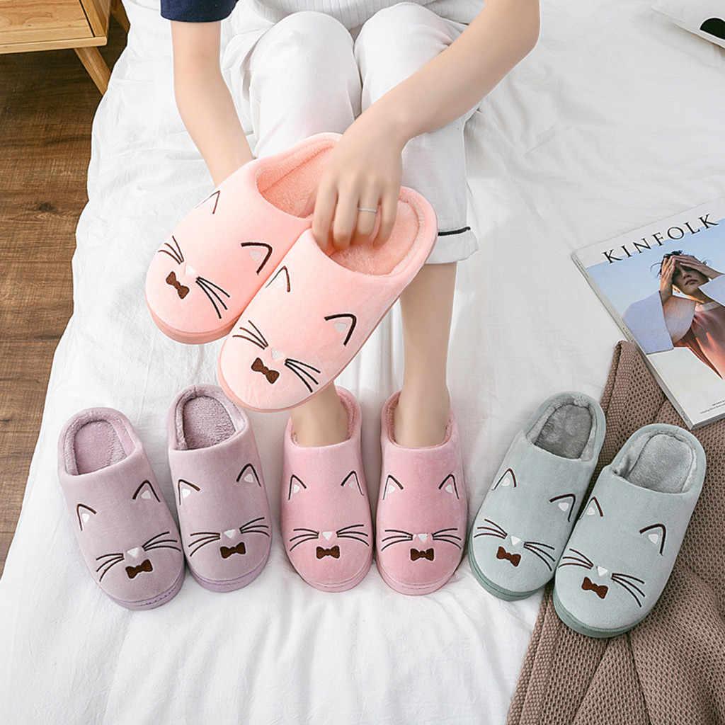 Women Men House Indoor Slippers Home Warm Cotton Velvet Shoes Sandals Anti-Slip Home Slippers Warm Women Shoes 4 colors 2019