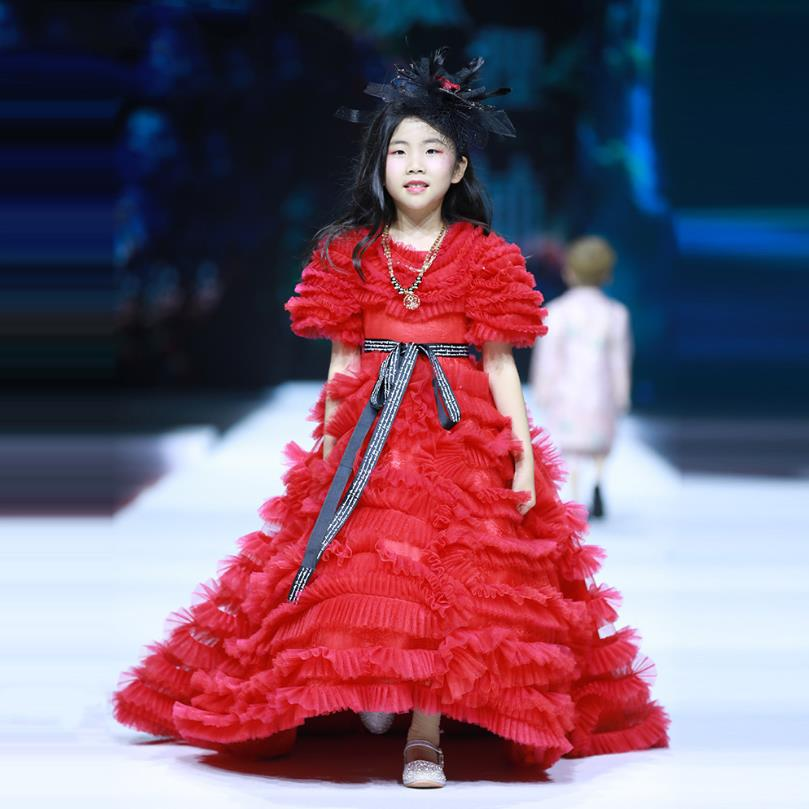 High-end Luxury Children Dress Girl Princess Evening Gown Flowers Girl Wedding Party Dress Catwalk Piano Show Dress for girl L51
