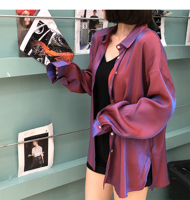 Chemise ample Cardigans brillant Bling Bling sirène Kyi femmes Blouse hauts chemise longue à manches longues blusas feniminas T97903
