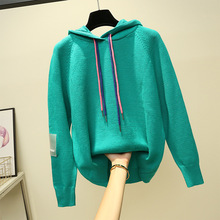 Diwish Ctue Hooded Sweater Students Pullover Casual Thick Winter Clothes Women Knit Loose Girl Kroean Christmas 2019