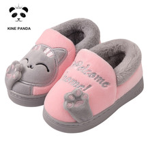KINE PANDA Winter Baby Slippers Warm Kids House Shoes for Girl Boy Indoor Children Floor Toddler Kitty Paw