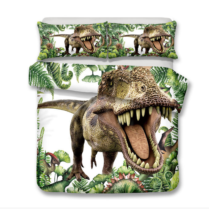 3D Animal Bedding Sets White Background Open Mouth King Dragon Dinosaur  Printing Fashion Home Textile 2/3 Pcs