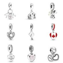 Original 925 Sterling Silver Beads Charm Diy Family Elephant Pink Flower Pendant For Women Pandora Bracelet Necklace