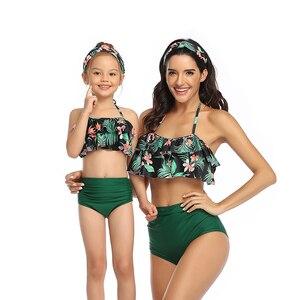 Family Mother Girl Sexy Bikini 2020 Swimsuit Swimwear Women Swimsuit Children Baby Kid Beach Swimwear biquini body suit(China)