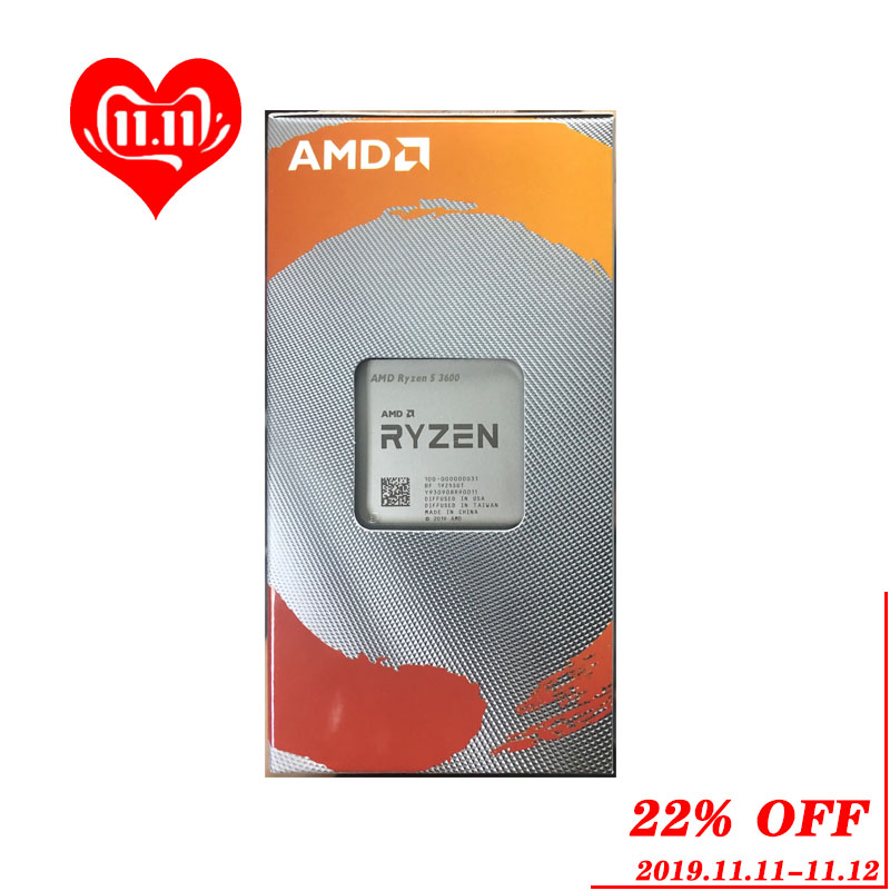AMD Ryzen 5 3600 R5 3600 3.6 GHz Six Core Twelve Thread CPU Processor 7NM 65W L3=32M  100 000000031 Socket AM4 new and with fan-in CPUs from Computer & Office