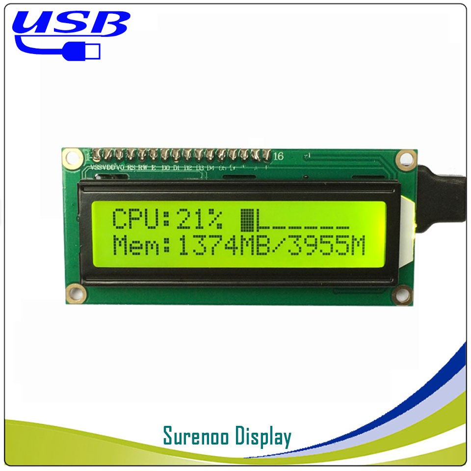 Spare Parts: LCD2USB USB 162 16X2 1602 Character LCD Module Display Screen Panel Sutible LCD Smartie & AIDA64 For DIY PC