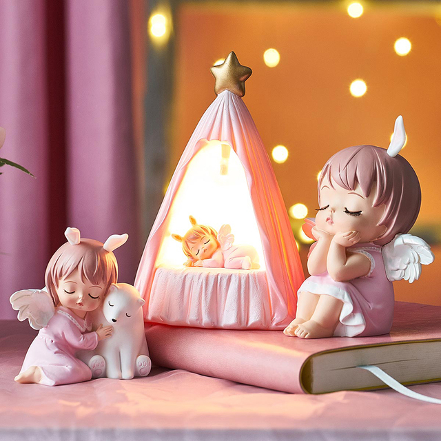 Cute Angel Baby Figurines Fairy Garden Miniatures Resin Ornaments Creative Home Decoration Accessories Birthday Gift  Room Decor 3