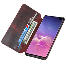 2019 New Genuine Leather Flip Cover For Samsung S8 S9 S10 S10e Plus Note 8 Note 9 Natural Cowhide Phone Case Wallet Bags Pouch(China)