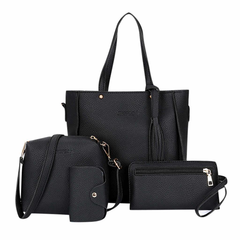 4 Pcs กระเป๋าแฟชั่นผู้หญิงชุดแฟชั่นหญิงและกระเป๋าถือ 4 ชิ้นกระเป๋า Tote Messenger กระเป๋าสตางค์กระเป๋า 2019 ใหม่