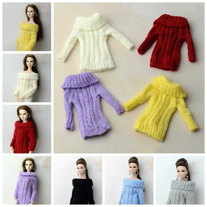1/6 ropa de muñecas Bonito traje de moda suéter de lana largo belleza Sexy colorido muñeca hecha a mano accesorios BJD SD juguete para niños