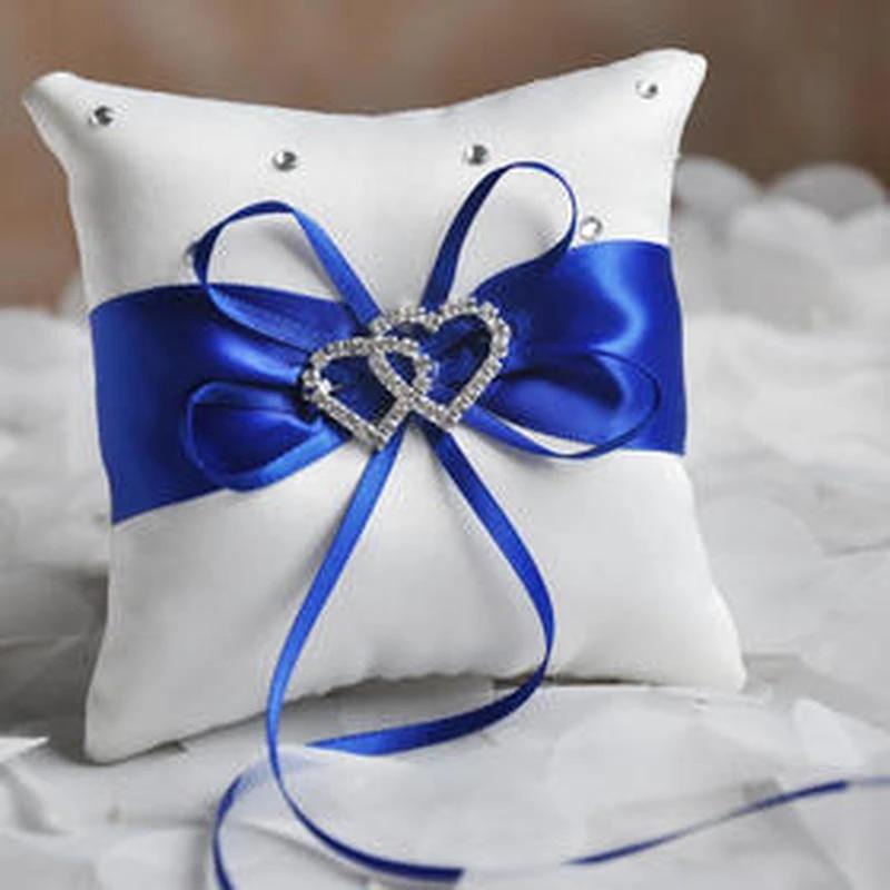 Ribbon Wedding Ring Pillow Rhinestone Wedding Ring Pillow/Double Heart Ring Pillow Ceremony Ring Pillow Ring Pillow Cushion Romantic Bowknot Ring Pillow Ring Bearer Bride Wedding Supply 20*20cm