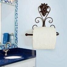 Nuevo estilo Retro de hierro portarrollos de papel higiénico Simple elegante cuarto de baño Vintage negro soporte de montaje en la pared únicos suministros de decoración del hogar