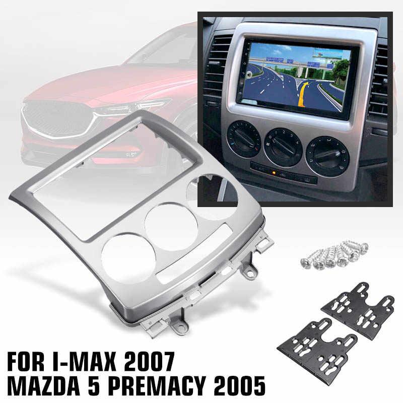 2 Din ramka wykończeniowa radia samochodowego rama panelu CD DVD Dash Audio wnętrza osłona tapicerka dla FORD i-max 2007 + dla MAZDA 5 Premacy 2005 +
