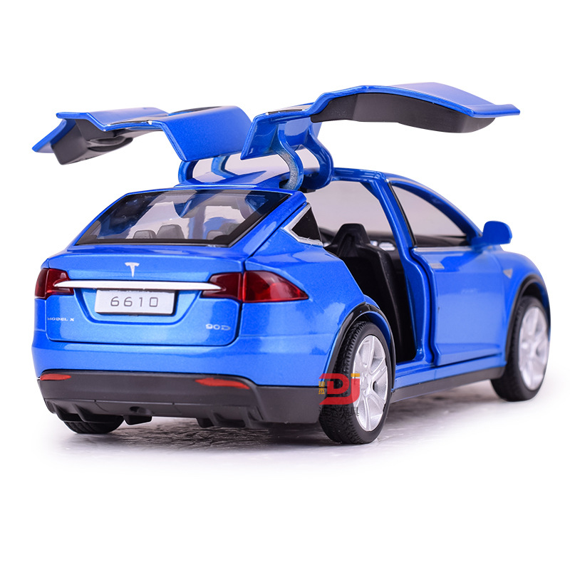 Alloy Car Model Tesla MODEL X90 Metal Diecast Toy Vehicles Car With Pull Back Flashing Musical Gift For Children's Race Car