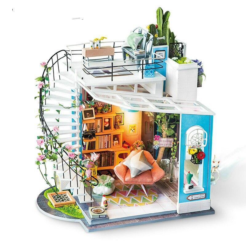 Robotime New DIY Dora's Loft with Furniture Children Adult Miniature Wooden Doll House Model Building Kits Dollhouse Toy DG12