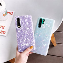ELALA Glossy Marble Case For Samsung Galaxy Note 10 Plus Bling Conch Shell Epoxy Silicone Glitter Soft TPU Cover Pro