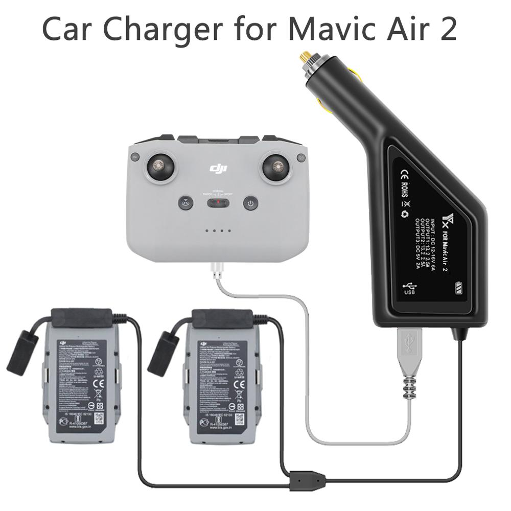 Car Charger For DJI Mavic Air 2 Intelligent Battery Charging Hub Mavic Air2 Car Connector USB Adapter Multi Battery Car Charger