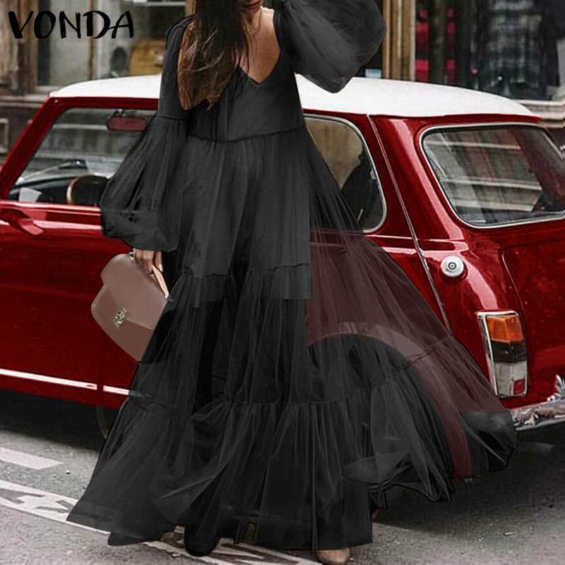 Casual Loose Dresses Womens Plus Size VONDA Fat MM Big Yards Sundress Sexy V-Neck Lantern Long Sleeve High Waist Maxi Dress 2020