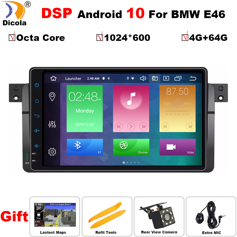 4+64 DSP AutoRadio Car Multimedia Player 1 Din Android 10 For BMW E46 M3 Rover 75 318/320/325/330/335MG ZT Screen GPS Navigation image