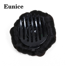 Synthetic Donut Chignon Hair Bun Eunice 9 Flowers Roller hair Clips In Hairpieces For Women Accessories Black Brown
