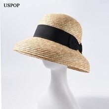 USPOP sombrero de paja con visera ancha para mujer, sombrero informal de paja de trigo natural, con lazo, para playa