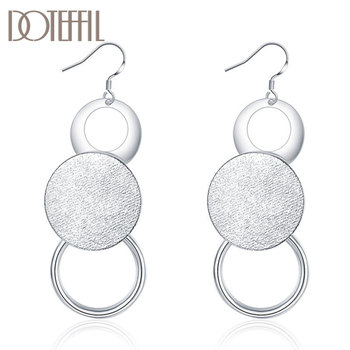 DOTEFFIL 925 Sterling Silver Matte Geometric Multicycle Earrings Charm Women Jewelry Fashion Wedding Engagement Party Gift doteffil 925 sterling silver grapes more beads charm bracelets jewelry for fashion women wedding engagement gift