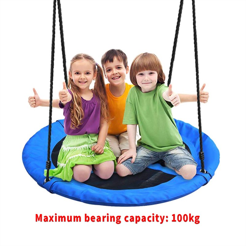Outdoor Garden Seat Swing Giant Padded Fabric Crows Nest Rope Swing Kids Hanging Seat Toys Height Adjustable Ropes Swing Chair