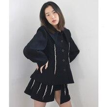 Модная уличная одежда с отложным воротником, однобортное лоскутное женское свободное короткое пальто, Осень-зима, новая одежда TD633