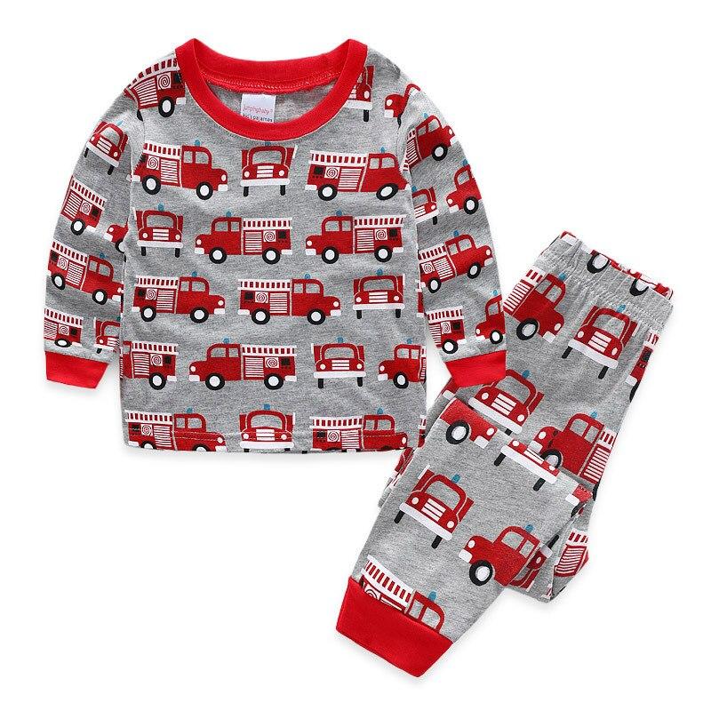 Children Fire Engines Pajamas Clothing Sets Boys Longs Leeve Tops+pants 2pcs Set Boys Kids Sleepwear Sets Cartoon Boys Pyjamas