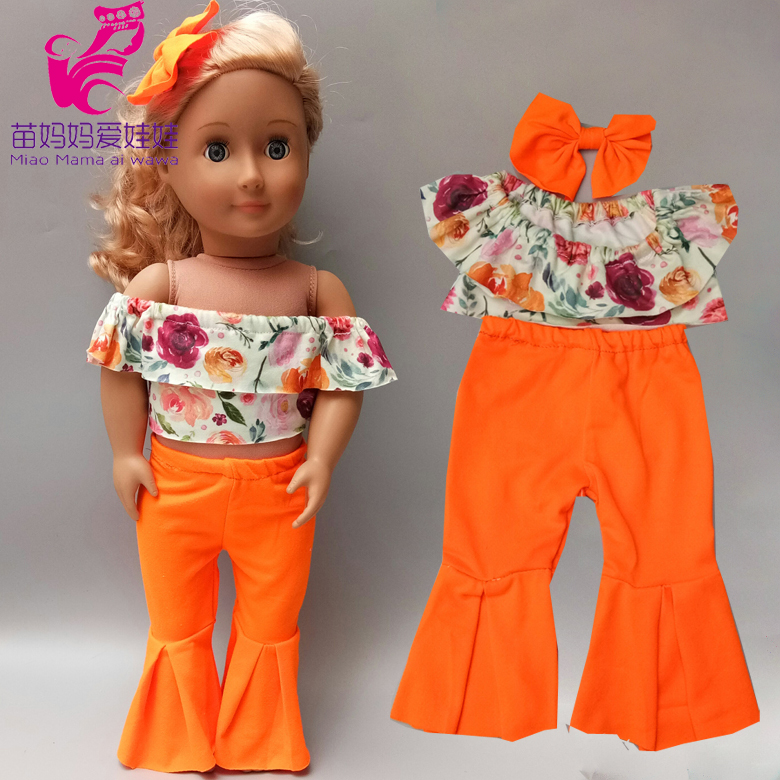 18 Inch 45cm Og Girl Doll Clothes One-shoulder Bell-bottom Outfit New Born Baby Doll Pajama Clothes Set