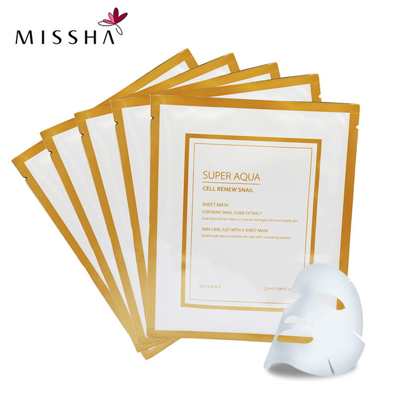 5pcs MISSHA Korean Super Aqua Cell Renew Snail Sheet Mask Whitening Moisturizing Skin Mask