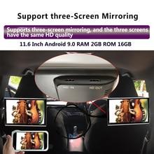 11.6インチのアンドロイド9.0 2ギガバイト + 16ギガバイト車のヘッドレストモニター4 18k 1080 1080p同じスクリーンwifi/bluetooth/usb/sd/hdmi/fm/ミラーリンク/miracast