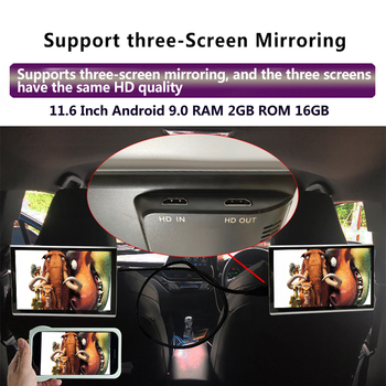 11.6 Inch Android 9.0 2GB+16GB Car Headrest Monitor 4K 1080P Same Screen WIFI/Bluetooth/USB/SD/HDMI/FM/Mirror Link/Miracast
