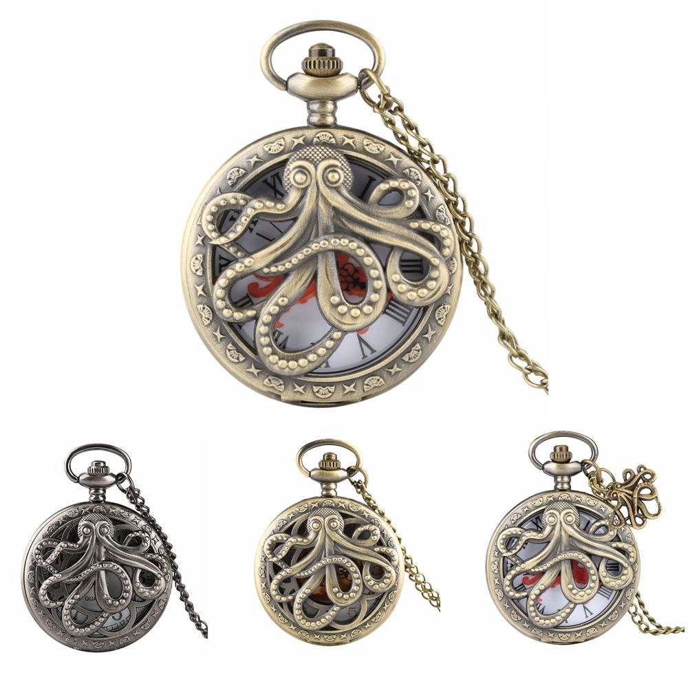Classic Bronze Octopus Half Hunter Pocket Watch Men Quartz Charming Hollow Clock Necklace Chain With Pendant Gift For Kids