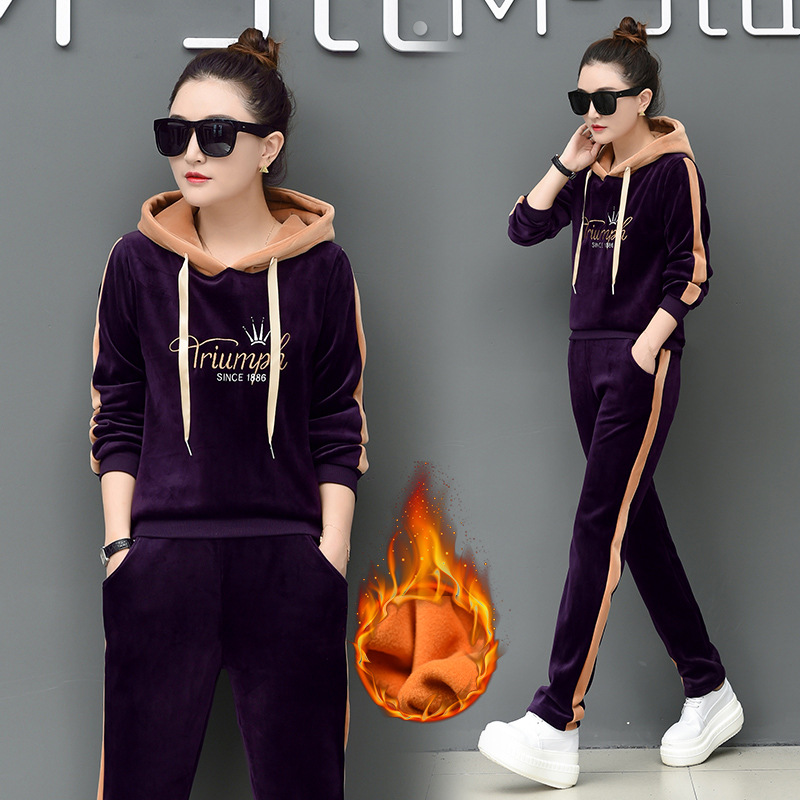 Autumn And Winter Brushed And Thick Gold Velvet Sports WOMEN'S Suit Two-Piece Set Double-sided Plush Warm Long Sleeve Casual Hoo