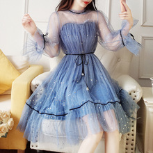 Paris Girl Autumn NewWomen Star Sequins Gauze Flare Sleeve High Waistline Princess Dress Female Elegant O-neck Mesh Puff Dresses